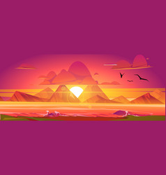sunset on ocean red sky with sun going down vector image