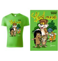 T-shirt design with cartoon animals vector
