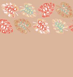 Tan border print tropical floral pattern vector