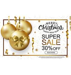 the christmas sale horizontal banner template vector image