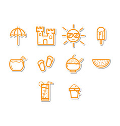 Thin line summer season icon set vector