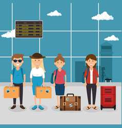 tourist people with suitcases in the airport vector image