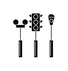 traffic light black icon concept traffic light vector image