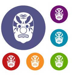 tribal mask icons set vector image