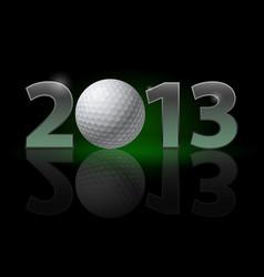 twenty thirteen year golf ball on black vector image