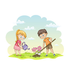 Two children are planting flowers vector