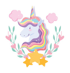 unicorn with rainbow hair stars clouds floral vector image