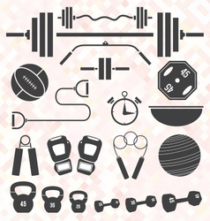 Weight Lifting and Workout Icons and S vector image