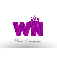 Wn w n dots letter logo with purple bubbles vector