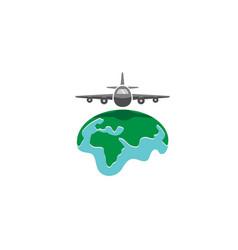 World airplane earth symbol creative air logo vector