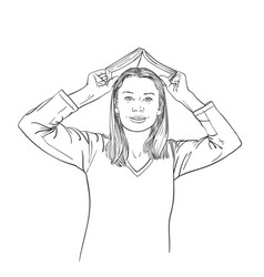 young woman holds open book over her head like vector image
