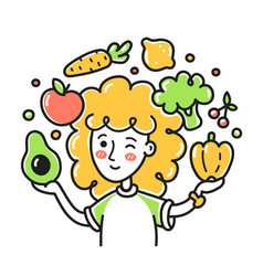 Young woman jugging fruits and vegetables vector