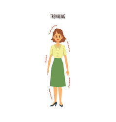 Young woman trembling from fear cold or illness vector