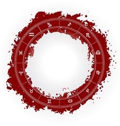 Zodiac wheel monochrome horoscope chart vector