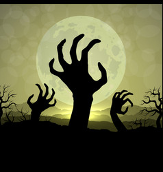 zombi hands in halloween night on the moon vector image