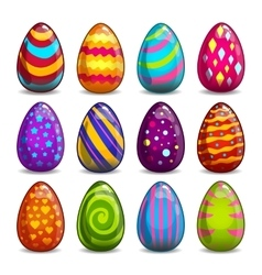 Big set with cartoon easter eggs vector image
