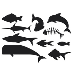 fish icons set vector image vector image