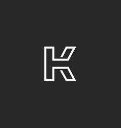 Letter k logo monogram thin monoline style vector