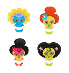 set with colorful skulls for day of the dead vector image vector image