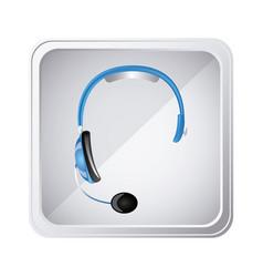 silver emblem headphone service icon vector image