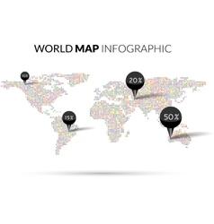 World Map colorful Dot infographics vector image