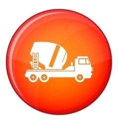 Concrete mixer truck icon flat style vector image