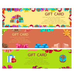 gift card colourful poster with frames and boxes vector image