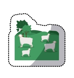sticker of landscape with sheep and trees vector image vector image