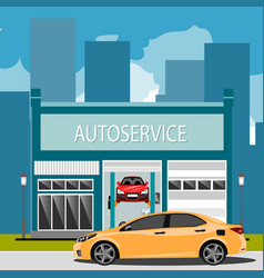 car repair maintenance auto service station with vector image