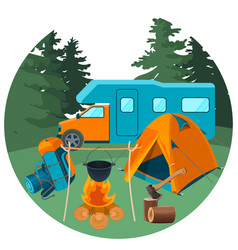 caravan in forest with picnic equipment vector image vector image