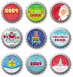 Christmas bottle caps buttons vector image vector image