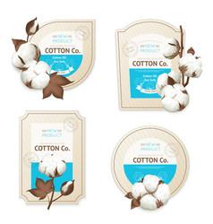 Cotton emblem package icon set vector