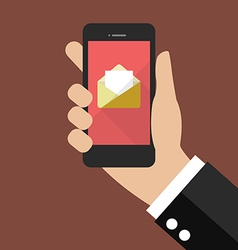 Hand holding smartphone with email icon vector image vector image