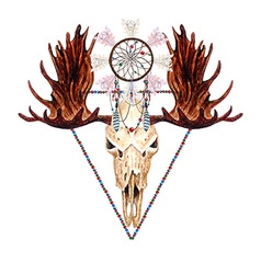 Moose skull and catcher vector image vector image