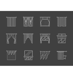 White flat line curtains decoration icons vector image vector image