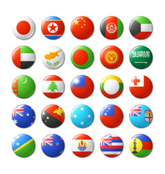 world flags round badges magnets asia and oceania vector image