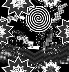 80s pop art seamless pattern in black and white vector image vector image