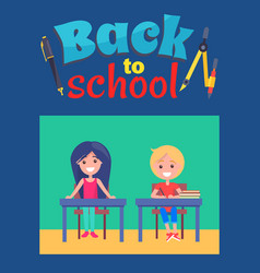 back to school poster with inscription and divider vector image vector image