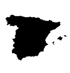 black silhouette country borders map of spain on vector image vector image