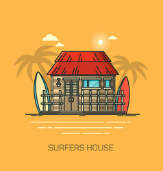 house with surfboards surfer home with palms vector image