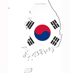 Map of South Korea with national flag vector image