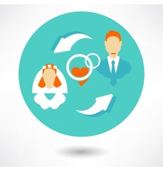 Married couple icons - groom and bride vector image