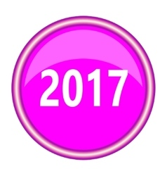 New year 2017 round glossy pink silver metallic vector