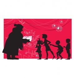 Santa and children vector image vector image