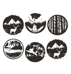 set of wilderness hand drawn black emblems vector image vector image