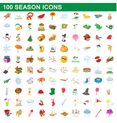 100 seasons icons set cartoon style vector image