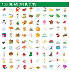 100 seasons icons set cartoon style vector