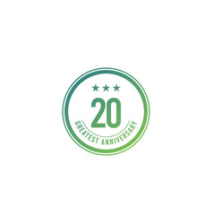 20 years anniversary blue circle design logo vector