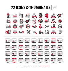72 icons and thumbnails vector