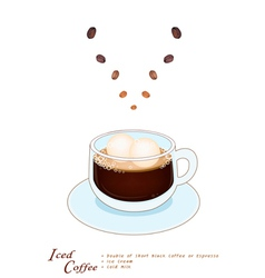 A Cup of Iced Coffee with Ice Cream vector
